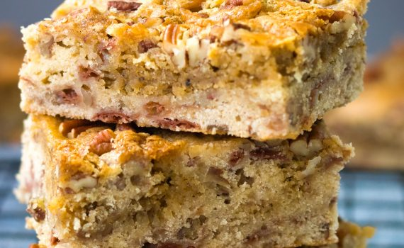 stack of cherry brown butter blondie bars