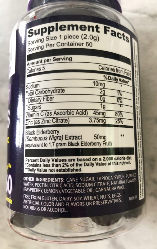 Nutrition facts for Sambucol gummies