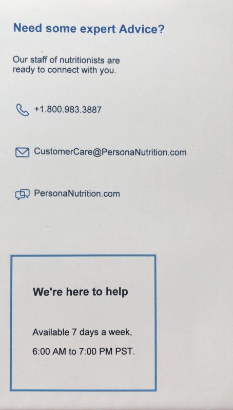 persona vitamins contact information
