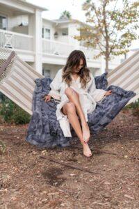 keikico spa robe on woman on hammock