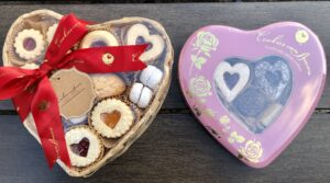 heart shaped cookie box and tin
