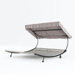 Abba patio chaise lounge for two with shade and wheels
