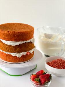 three layers of strawberry crunch cake