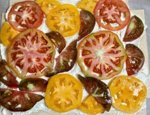 unbaked heirloom tomato tart
