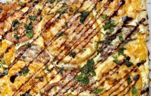 Heirloom tart with balsamic glaze